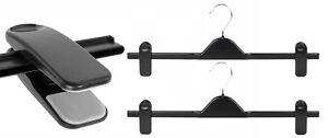 10-New-Extra-Wide-40cm-Black-Adjustable-Plastic-Clip-Clothes-Hangers-Trouser
