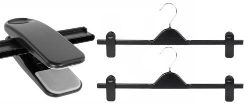 10 New Extra Wide 40cm Black Adjustable Plastic Clip Clothes Hangers Trouser