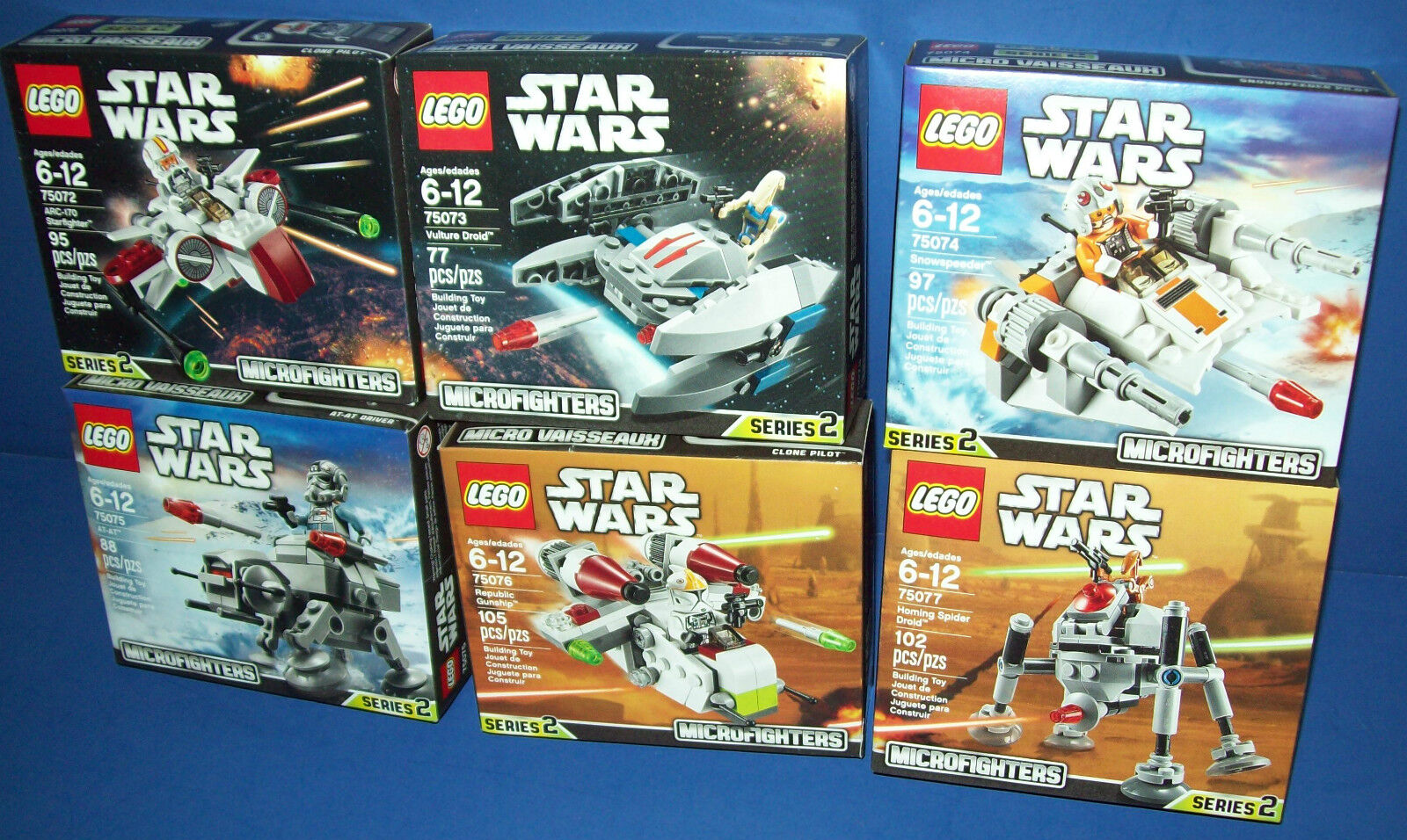 LEGO Star Wars LOT 75072 75073 75074 75075 75076 75077 6 MICROFIGHTERS SERIES 2