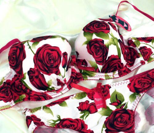 Padded Bra Sets Lace Floral Burgundy Rose Women Ladies Underwear Lingerie Briefs