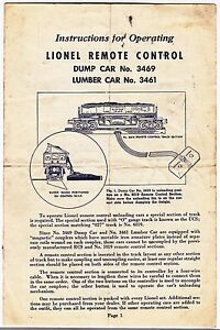 [54769] 1950 LIONEL REMOTE CONTROL DUMP CAR 3469 & LUMBER CAR 3461 INSTRUCTIONS
