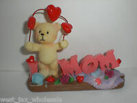 Cute Adorable I Love Mom Red Hearts Figurine Bear Mother Gift Figure In Box