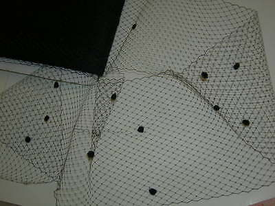 Black birdcage veil netting chenille dot hat net  BIRD CAGE  1 1/2 yards