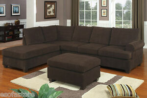 Living room 3pc Sectional Sofa Set Chocolate Reversible Chaise Wedge w Ottoman