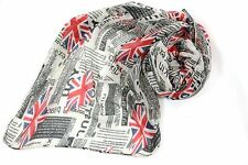 B86 Union Jack British Invasion Newspaper Flag Red White Blue Long Scarf