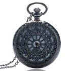 Classic Men's Steampunk Black Spiderweb Hollow Quartz Pocket Watch Xmas Gift