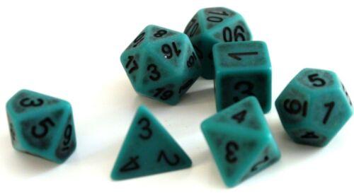 RPG 7-teilig Würfel Set Poly DND Rollenspiel antik grün Tablettop Dungeons Dice