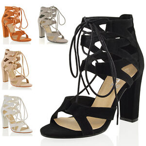 Womens-Lace-Up-Sandals-Block-Mid-High-Heel-Ladies-Chunky-Cut-Out-Shoes
