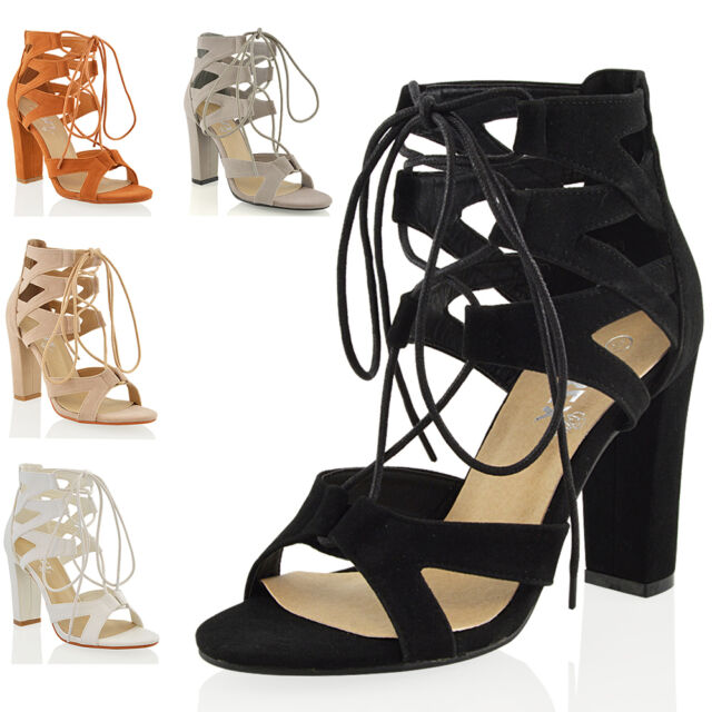 Womens Lace Up Sandals Block Mid High Heel Ladies Chunky Cut Out Shoes