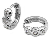 Valentines Special Russian Cz Huggie Infinity .925 Sterling Silver Earrings on sale