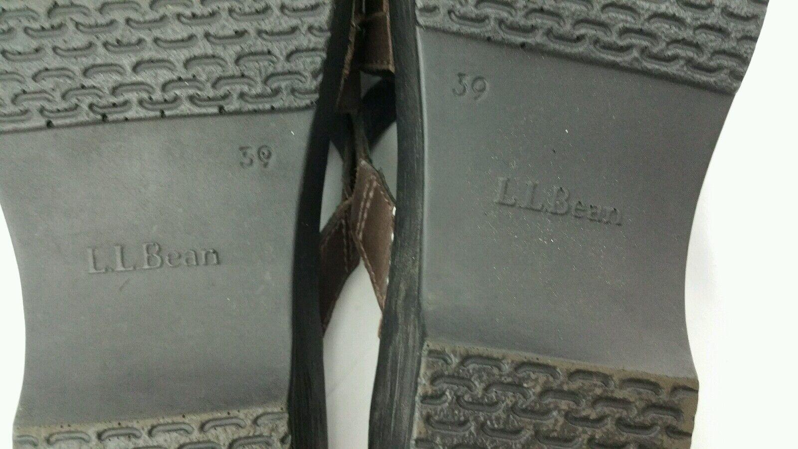 L.L. Bean Scarpe 7.5M Donna marrone Pelle Slide On On On Clogs Expandable Comfy LL 0b0014