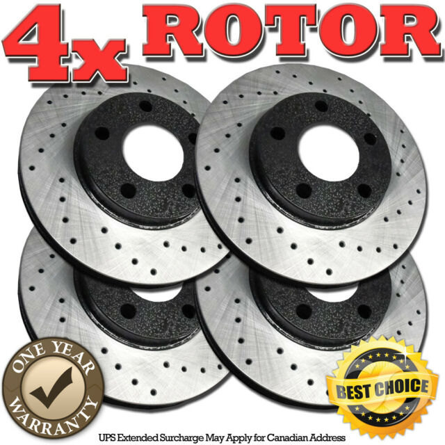 RH0160 FRONT+REAR BLACK Drilled Brake Rotors FOR 1999 2000