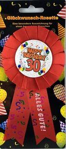 Rosette-30-Happy-Birthday-Party-Dekoration-Geschenk-Glueckwunsch-TOP