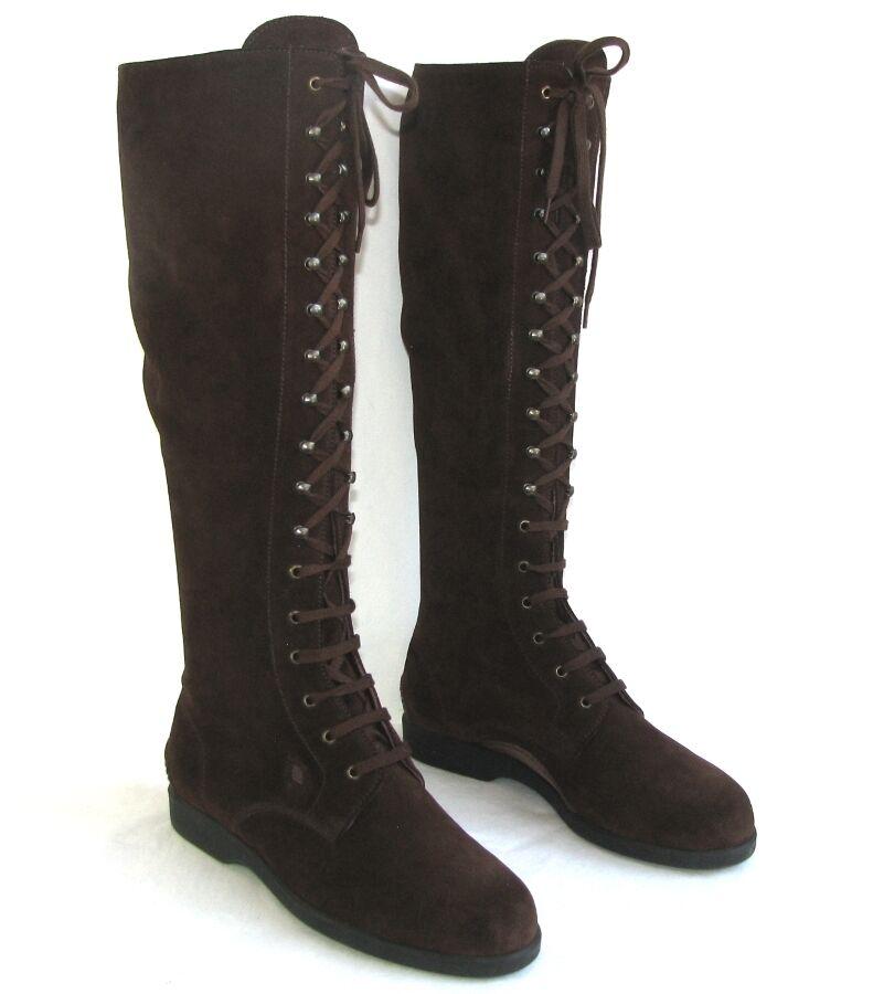 FRATELLI pinkTTI Bottes plates lacets tout cuir velours brown 37 EXCELLENT ETAT