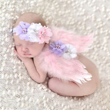 Baby Feder Lace Engelsflügel+Kopfband Stirnband Kostüme Fotostudio Zubehör IMAX