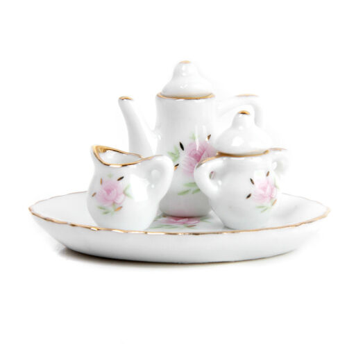MagiDeal 8pcs Dollhouse Miniature Tableware Porcelain Tea Set Dish Cup Plate