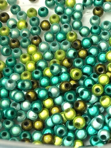 300 Acrylic Miracle 3D Beads 5 8 6 10mm 'Green Mix/' wholesale glow disco