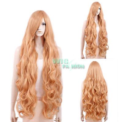 Heat Resistant Long Wavy Pink Mixed Orange Fashion Hair Wig
