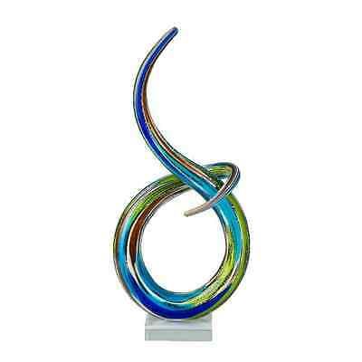 COLOURED GLASS KNOT BLUE GREEN 36CM