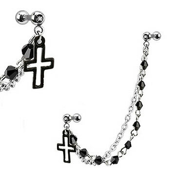 316L Surgical Steel Ear Cartilage Piercing Earring Ring Chain Cross Black 16G