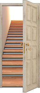 Sticker porte trompe l\'oeil déco Escalier réf 855 (3 Tailles au ...