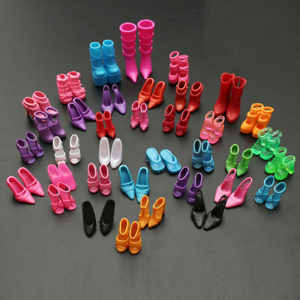 120pcs 60 Pairs Trendy Multiple Styles Shoes High Heels For Barbie Doll Clothes