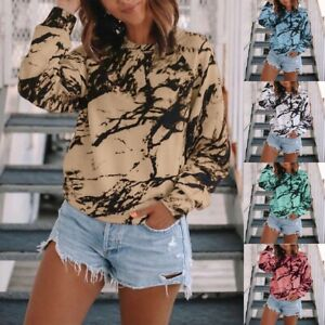 UK Womens Pullover Shirt Tie Dye Basic Long Sleeve Ladies Tee Blouse Loose Tops