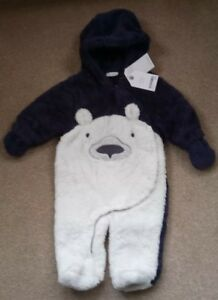 091a37b6c BNWT Next Baby Boys Blue With Polar Bear On The Front Snowsuit Age 3 ...