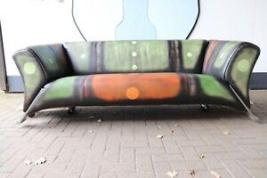 Details zu Rolf Benz 322-210, Unikat-mehrfarbig, Echtleder, Vintage,