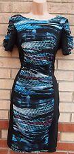 ABSTRACT CHIFFON GREEN BLUE ART PRINT BLACK SLIMMING PENCIL BODYCON DRESS 6 XS