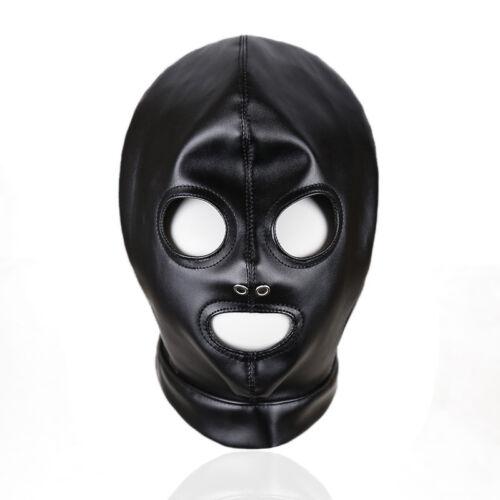 Lace up leather Head harness Cosplay Halloween hood mask headgear Mouth Open LA2
