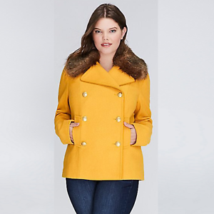 Lane-Bryant-Double-Breasted-Pea-Coat-Faux-Fur-Collar-Mustard Plus Size 18 20