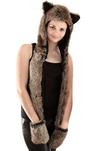 Ladies-Warm-Fur-Hood-Hat-Scarf-Mittens-Gloves-In-One-Lined-Leopard-Wolf-Design