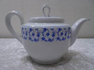 Kahla-Design-Porzellan-Teekanne-Vintage-um-1970-Blaue-Blume