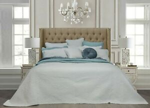 Monet-White-100-Cotton-Coverlet-Bedspread-Bedcover-Set-New