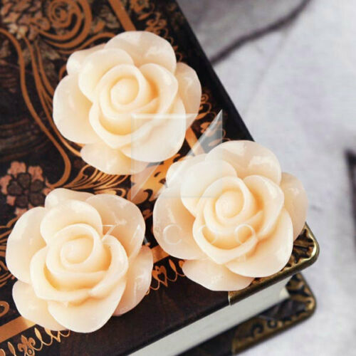 3//12pcs Vintage Cabochons Resin Flatbacks Cameo Rose Flower 21x21x9.5mm BWRB0533