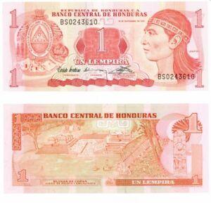 CRISP UNCIRCULATED 1984 HONDURAS 1 LEMPIRA  BANKNOTE