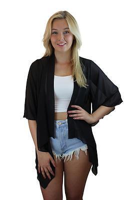 Ladies Beach Chiffon Marbella Ibiza Waterfall Mid Length 3/4 Sleeve Kimono