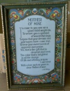 Antique 'mother Of Mine' Poem Mothers Day Jw Foley Poet Tribute Vintage Picture Save 50-70% Other Antique Decorative Arts