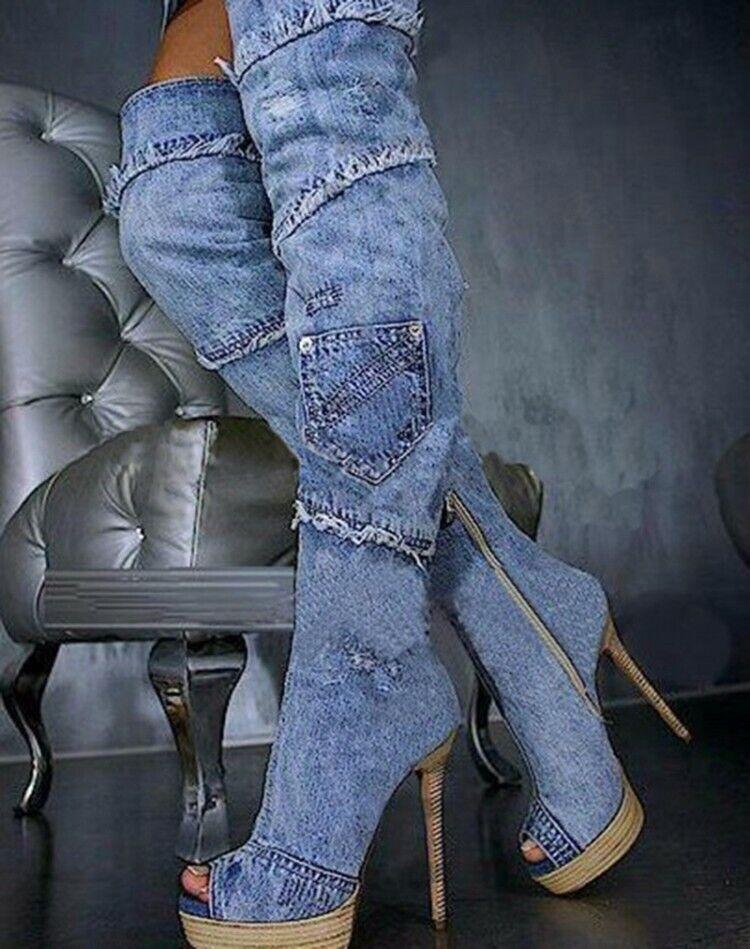 UK Women bluee Denim Thigh High Boots Peep Toe Platform Nigthclub shoes Big Size