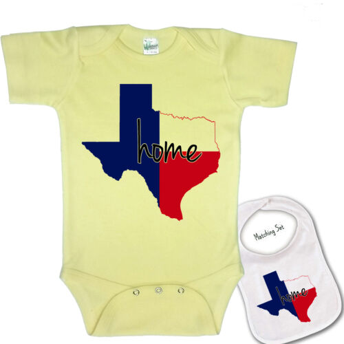 "/"" Texas Home /"" Cute Boutique novelty  Baby bodysuit romper /& Matching Bib set"