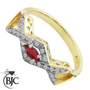 251fef2d548b La imagen se está cargando Bjc-9Ct-Oro-Amarillo-Rubi-y-Diamante-Cruzado-
