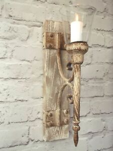 Image Is Loading French Shabby Chic Wall Sconce Candle Holder Antique