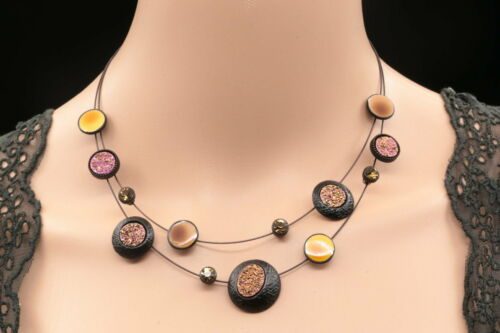 2 layer Modern crystal enamel glitter round choker black plated necklace New S40