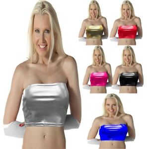 New Womens Shiny Stretch WetLook Lycra Strapless Bandeau Party Club Boobtube Top