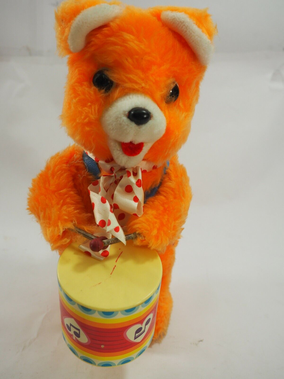 orange Drummer Bear Vintage Battery Operated Figure Works