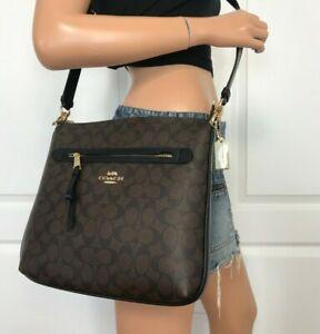 Coach-F77885-Mae-Signature-Brown-Black-File-Crossbody-Handbag-Bag-Authentic-328