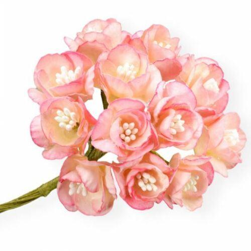 NOUVEAU LOT DE 72 25 MM Cherry Blossom sur une TIGE Craft Fleurs Mariage Bouquet