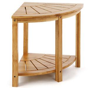bamboo corner shower bench sturdy waterproof stool with