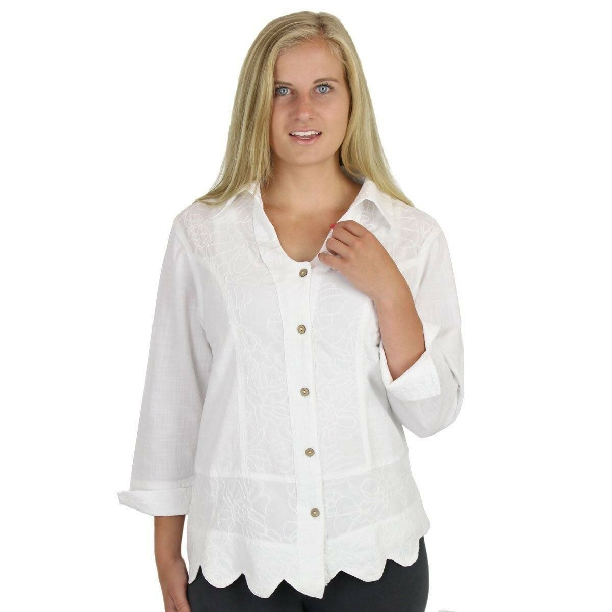 Embroiderot Cotton Shirt Top - 100% Cotton - Made in USA